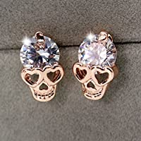 wanmanee Fashion Rose Gold Filled Crystal Skull Heads Ear Studs Earrings Party Jewelry