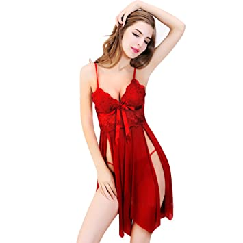 78db94bc1 Ksera Sexy Lingerie Sleepwear for Women Lace Babydoll Sleepwear Set Halter  Dress Comfortable Nightwear (Red
