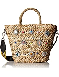 Cheryl Woven Multi Colored Jewel Rhinestone Tote with Wide Shoulder Strap