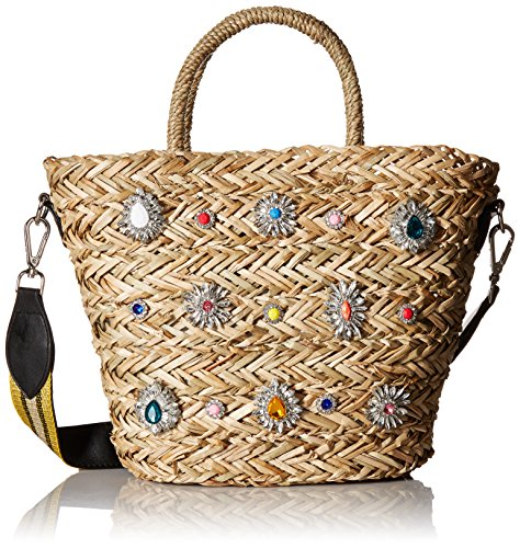 - Steve Madden Cheryl Woven Multi Colored Jewel Rhinestone Tote with Wide Shoulder Strap, Gold