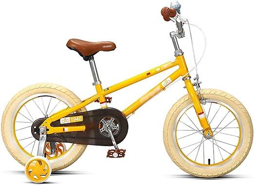 GAIQIN Durable Bicicleta para niños Bicicleta 3-6-7-8-9 años Frenos de Mano de niños y niñas, Control de Seguridad (Color : Amarillo, Tamaño : 16inch): Amazon.es: Hogar