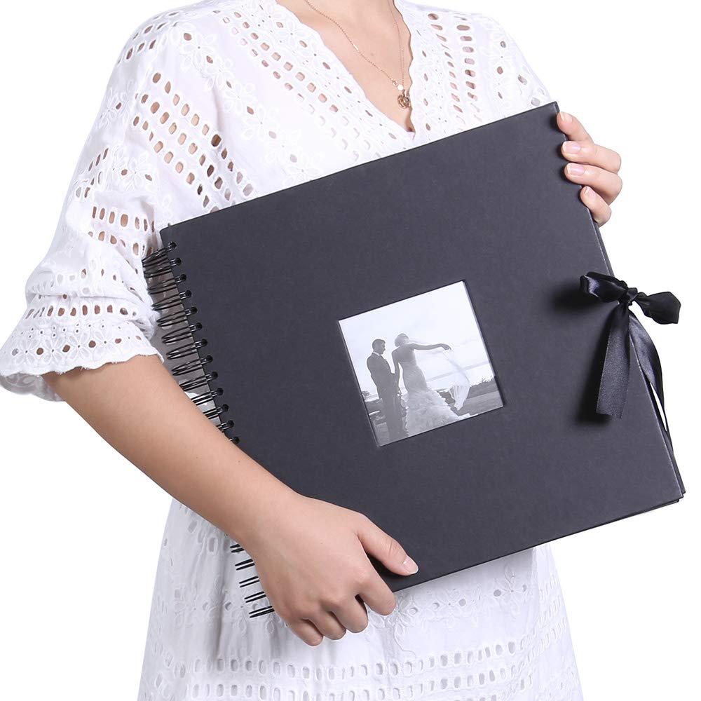 QC Home DIY Scrapbook Photo Album 80 Pages Silk ribbon Album Craft Paper Album, 11.4x8.38 Inches, with Photo Album Storage Box DIY Accessories Kit (Yellow) 4336978024