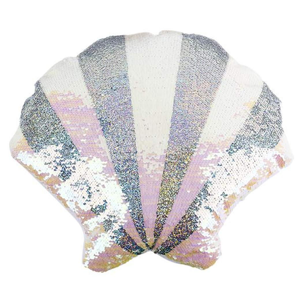 16'' Reversible Sequin Pillow | Select your Favorite Colorful Design Llama, Narwhal, Panda, Penguin, Donut, Watermelon, Sloth, Alpaca & More | Playful Addition to Kids Bed or Playroom (Sea Shell) by Forest & Twelfth