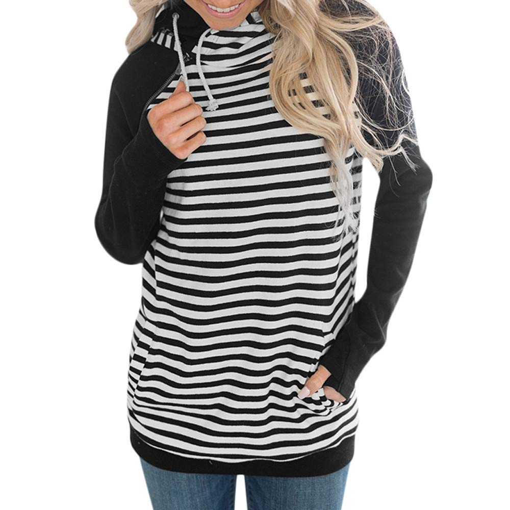 YANG-YI Clearance, Women Hoodie Striped Sweatshirt Pullover Tops Blouse Jumper Coat