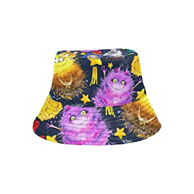 Image Unavailable. Image not available for. Color  Bucket Hat Cute Monster  Outdoor Travel Sun Protection ... 1ae27559a07d