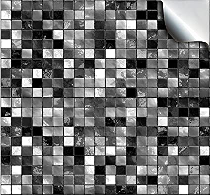 24 Black White Kitchen Bathroom Tile Stickers Transfers Flat Printed Covers For 6 X 6 Inch 15 X 15cm Tiles Diy Stick On Wall Peel And Stick Tile Style