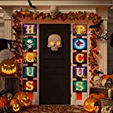 Hocus Pocus Halloween Decoration Banner, Halloween Hanging Signs Decor for Home Office Front Door Porch Gate Garden Witches Home Party