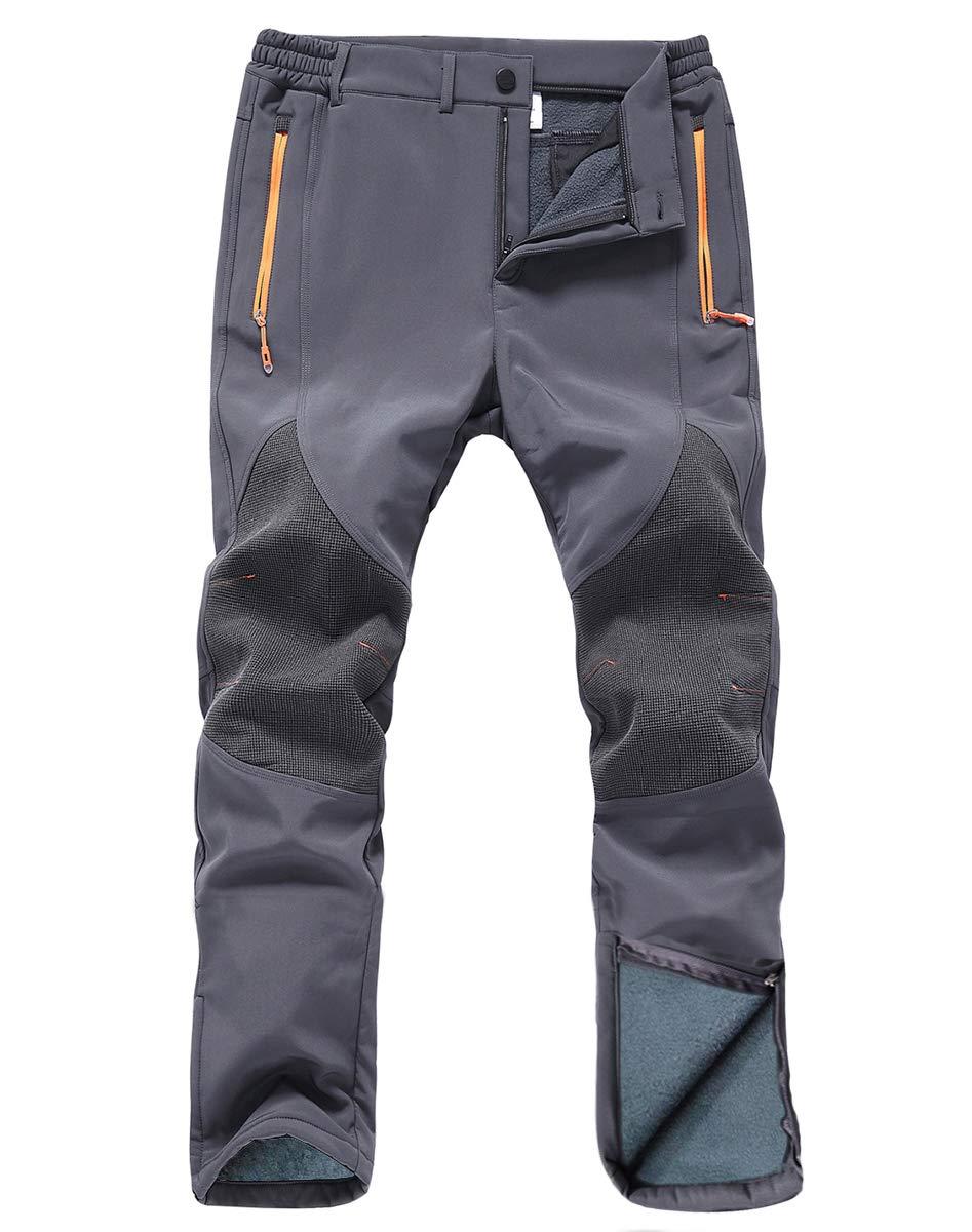 Gash Hao Mens Snow Ski Waterproof Softshell Snowboard Pants Outdoor Hiking Fleece Lined Zipper Bottom Leg (Gray, 30W X 32L) by Gash Hao