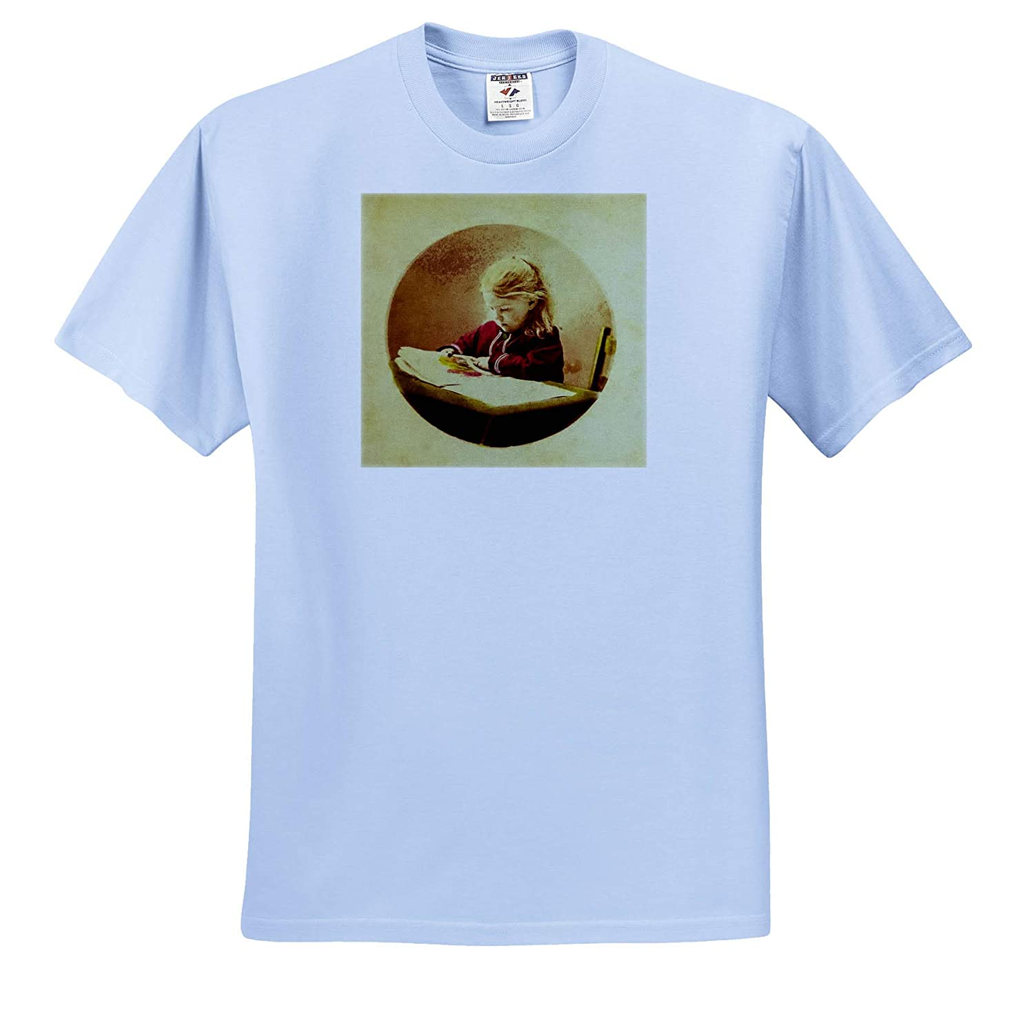 Stereoview T-Shirts Vintage Little Girl Looking Through Picture Book Hand Colored 3dRose Scenes from The Past