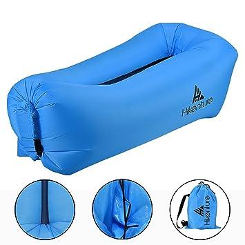 Inflable aire tumbona por hikenture, portátil impermeable inflable sofá, aire tumbona inflable sofá con bolsa de almacenamiento para viajar, piscina, ...