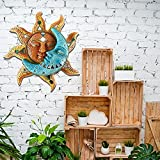 SLQX Sun and Moon Outdoor Wall Decor, 11-inch Sun