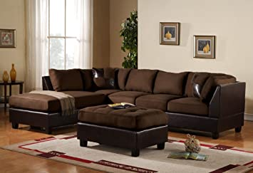 3 Piece Modern Microfiber Faux Leather Sectional Sofa With Ottoman, Color  Hazelnut, Beige,