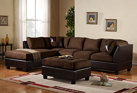 3 Piece Modern Microfiber Faux Leather Sectional Sofa with Ottoman Color Hazelnut Beige : faux leather sectional - Sectionals, Sofas & Couches