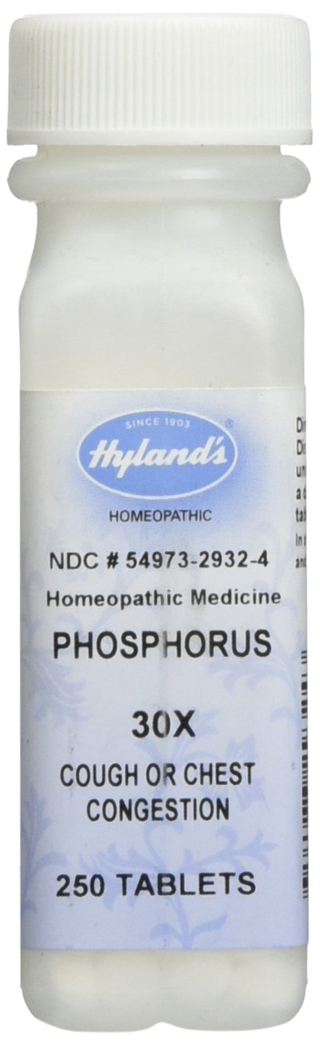 Hyland's Phosphorus 30X Tablets, Natural Homeopathic Cough or Chest Congestion, 250 Count