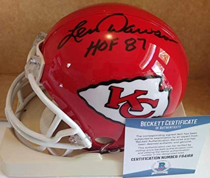 72380adb7 Len Dawson Autographed Mini Helmet - Hof 87 Riddell Beckett F94168 -  Beckett Authentication - Autographed