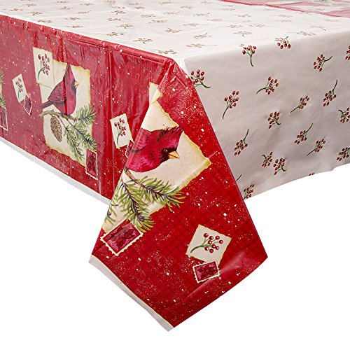 Cardinal Christmas Plastic Tablecloth, 84