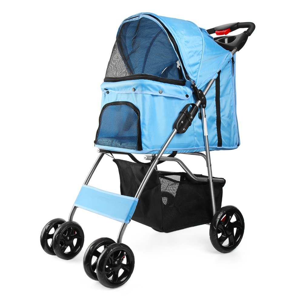 Flexzion Pet Stroller Dog Cat Small Animals Carrier Cage 4 Wheels Folding Flexible Easy Walk for Jogger Jogging Travel Up to 30 Pounds With Rain Cover Cup Holder and Mesh Window, Blue by Flexzion (Image #1)