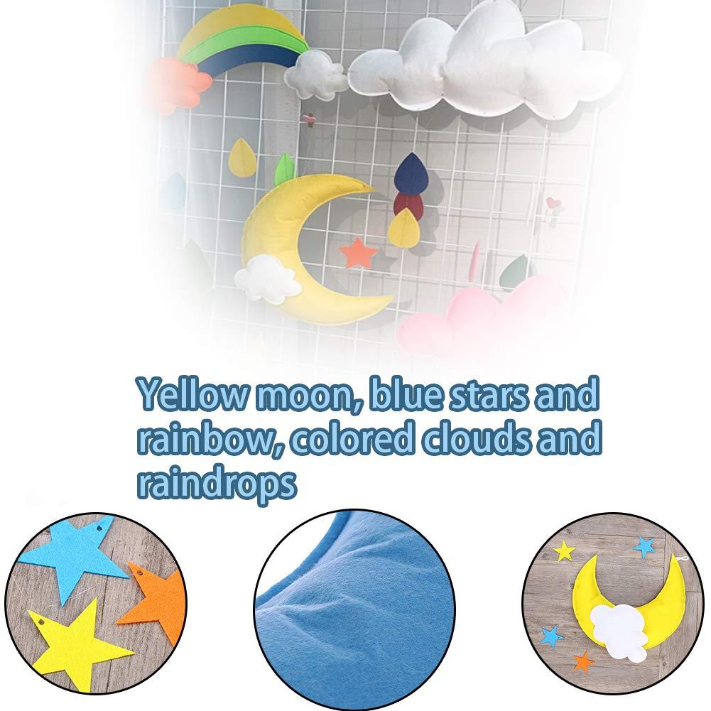 2 pcs Arcoiris Nubes Techo Colgante Decoraciones Luna Estrellas Adornos para Baby Shower Baby Nursery Room Yellow Moon White Cloud Multicolor Stars Arcoiris
