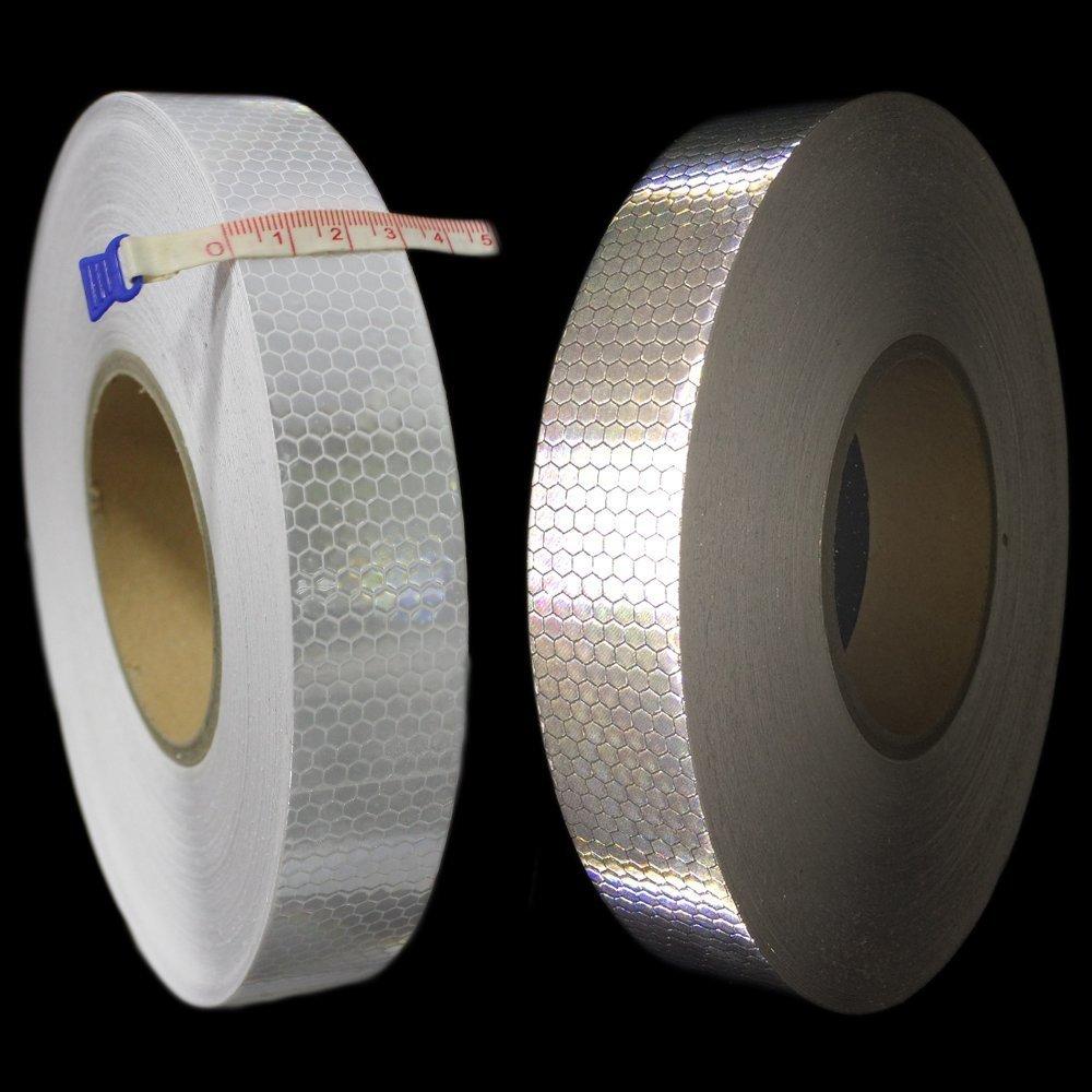 Muchkey® nastro adesivo alta visibilità riflettente colore lime bianco Reflectibe nastro 5m di lunghezza (3cm * 5M) MyHung