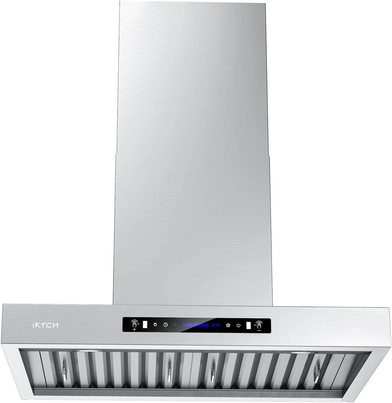 Iktch 36 Inches Wall Mount Range Hood 900 Cfm Stainless Steel Kitchen Chimney Vent With Gesture Sensing Touch Control Switch Panel 2 Pcs Adjustable Lights 3 Pcs Baffle Filter Ikp01 36 Appliances