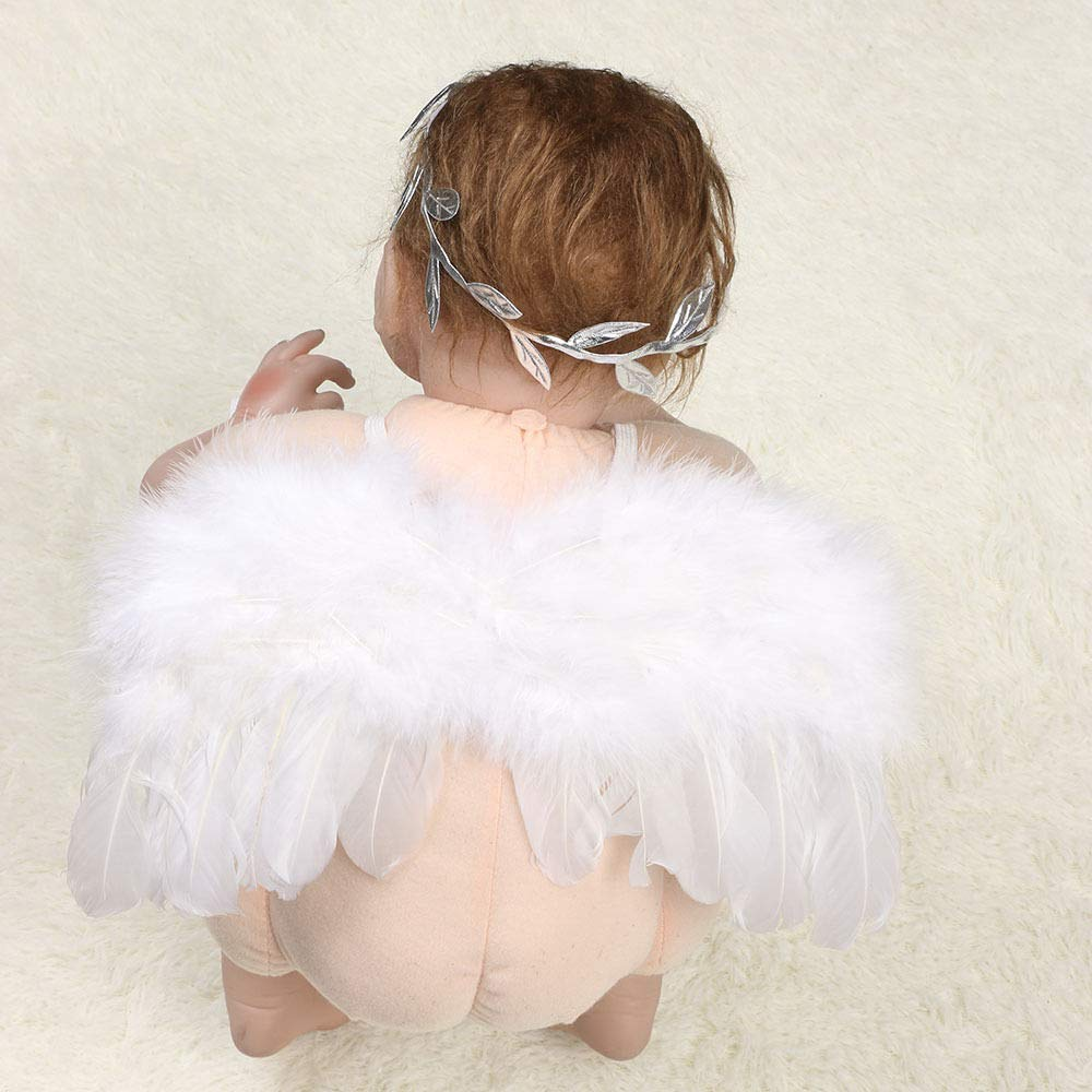 TraderPlus Baby Angel Feather Wings Set with Silver Leaf Headband Photography Props