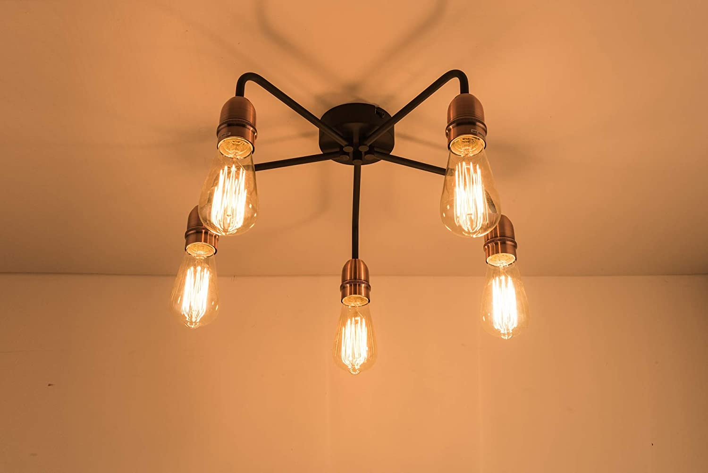 5 Lights Kitchen Hallway Bedroom B/&B/… Suitable for LED Upgrade Black with Matt Silver Ideal for Living Room 5xE27//ES Semi-Flush Ceiling Light Hotel HARPER LIVING