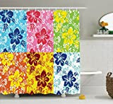 Ambesonne Hawaiian Decorations Collection, Tropical Colorful Blooming Hibiscus Flower Summer Themed Pattern with Leaves, Polyester Fabric Bathroom Shower Curtain, 84 Inches Extra Long,