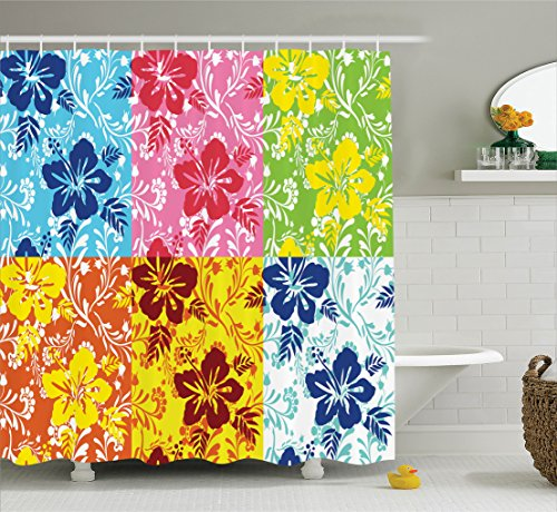 Ambesonne Hawaiian Decorations Collection, Tropical Colorful Blooming Hibiscus Flower Summer Themed Pattern with Leaves, Polyester Fabric Bathroom Shower Curtain, 84 Inches Extra Long, by Ambesonne