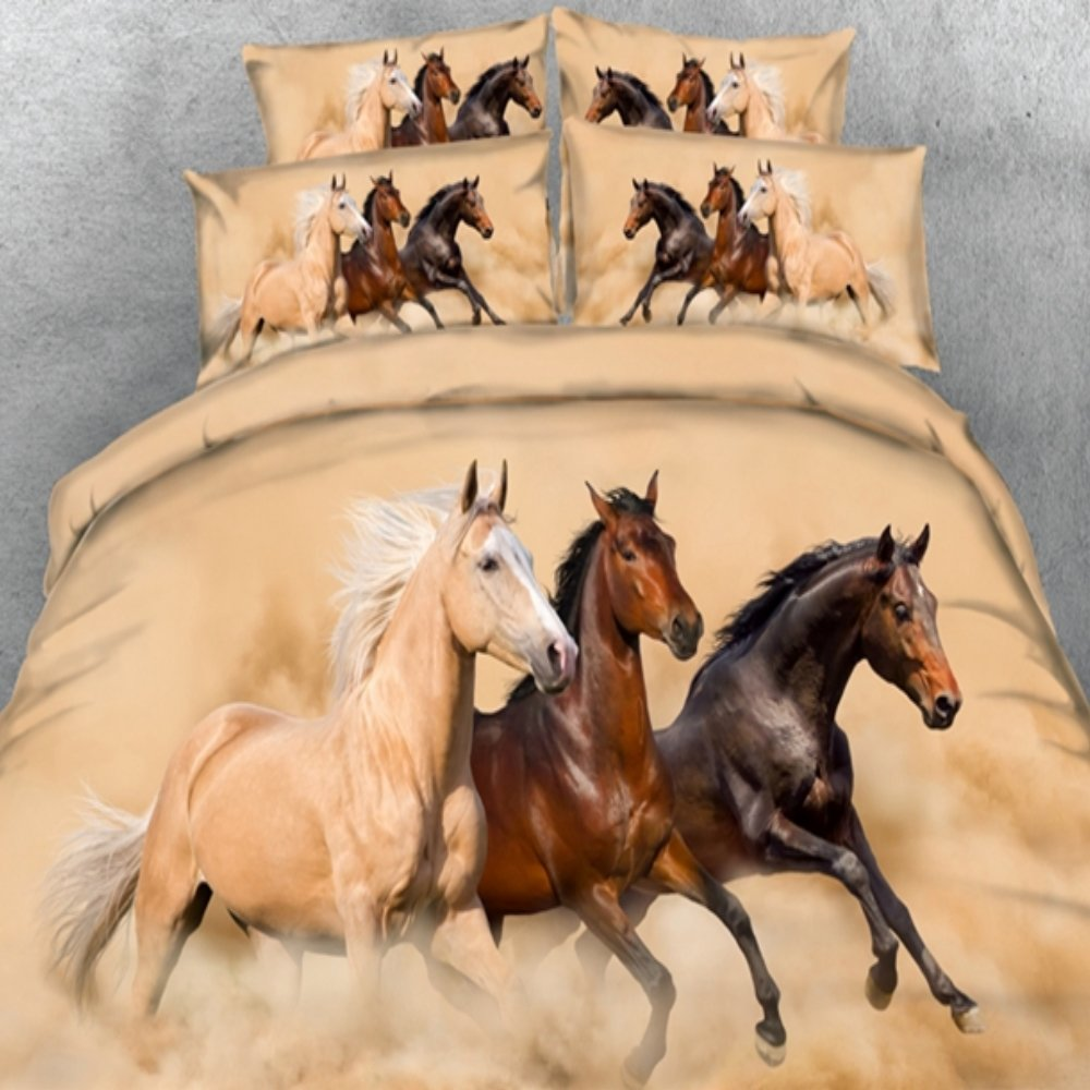 alicemall horse bedding three running horses printing brown 4 piece duvet cover set twin full queen king us size twin brown - Horse Bedding