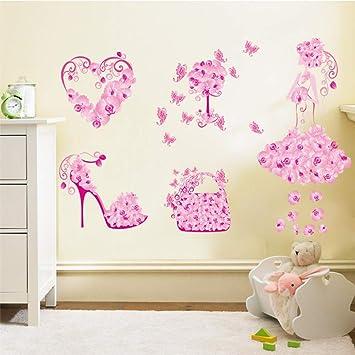 Amazon.com: JQSM DIY Flower Girl Shoes Bag Window Shop Wall ...