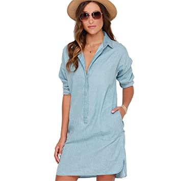 Langarm kleider blau