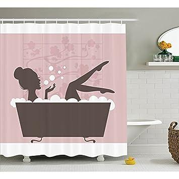 Hu0026S Teens Mädchen Duschvorhang Durch, Schöne Frau In Badewanne Whirlpool  Spa Behandlung Entspannende Konzept Vintage