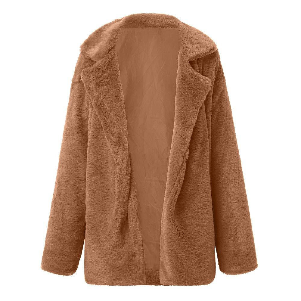 GREFER Women Winter Coat Keep Warm Outerwear Loose Big Collar Fur Cardigan