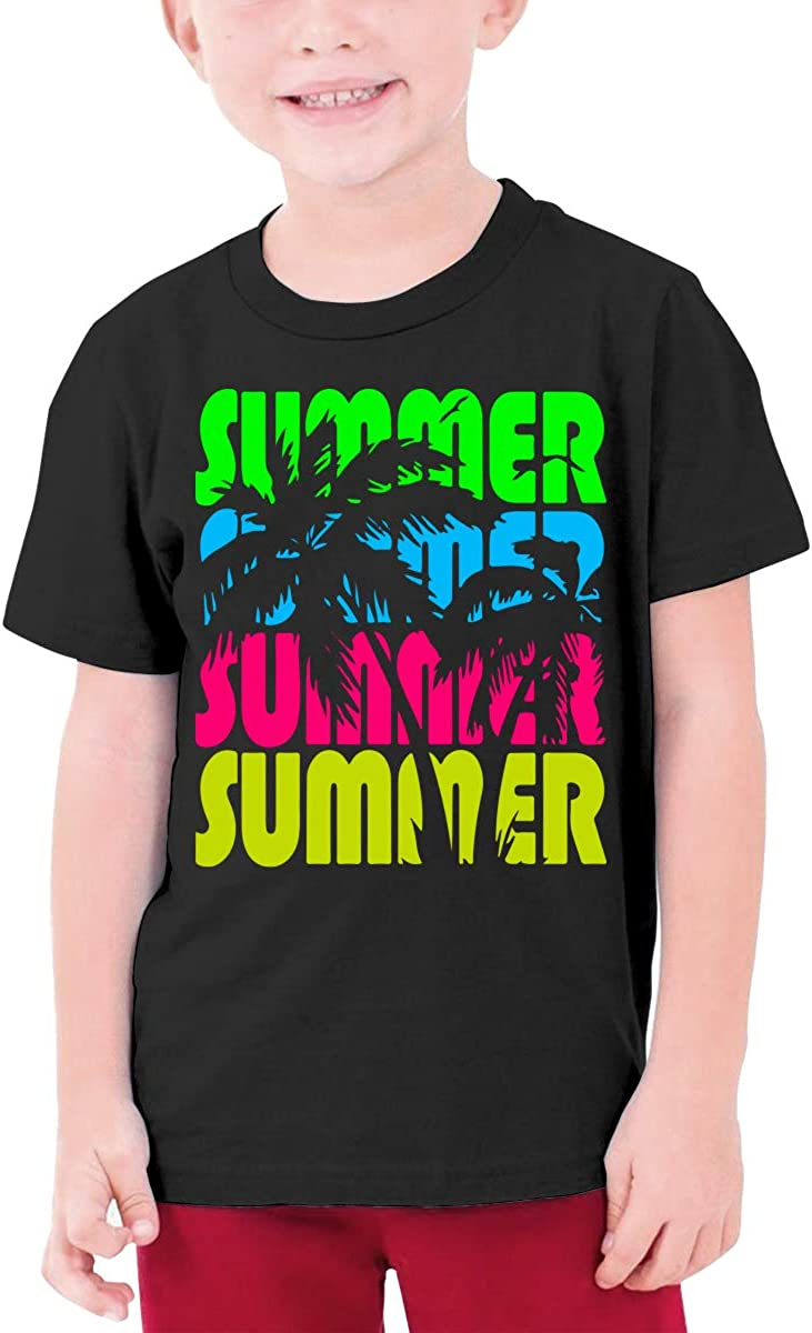 Palm Trees in Summer Young Boys Crew Neck T Shirts