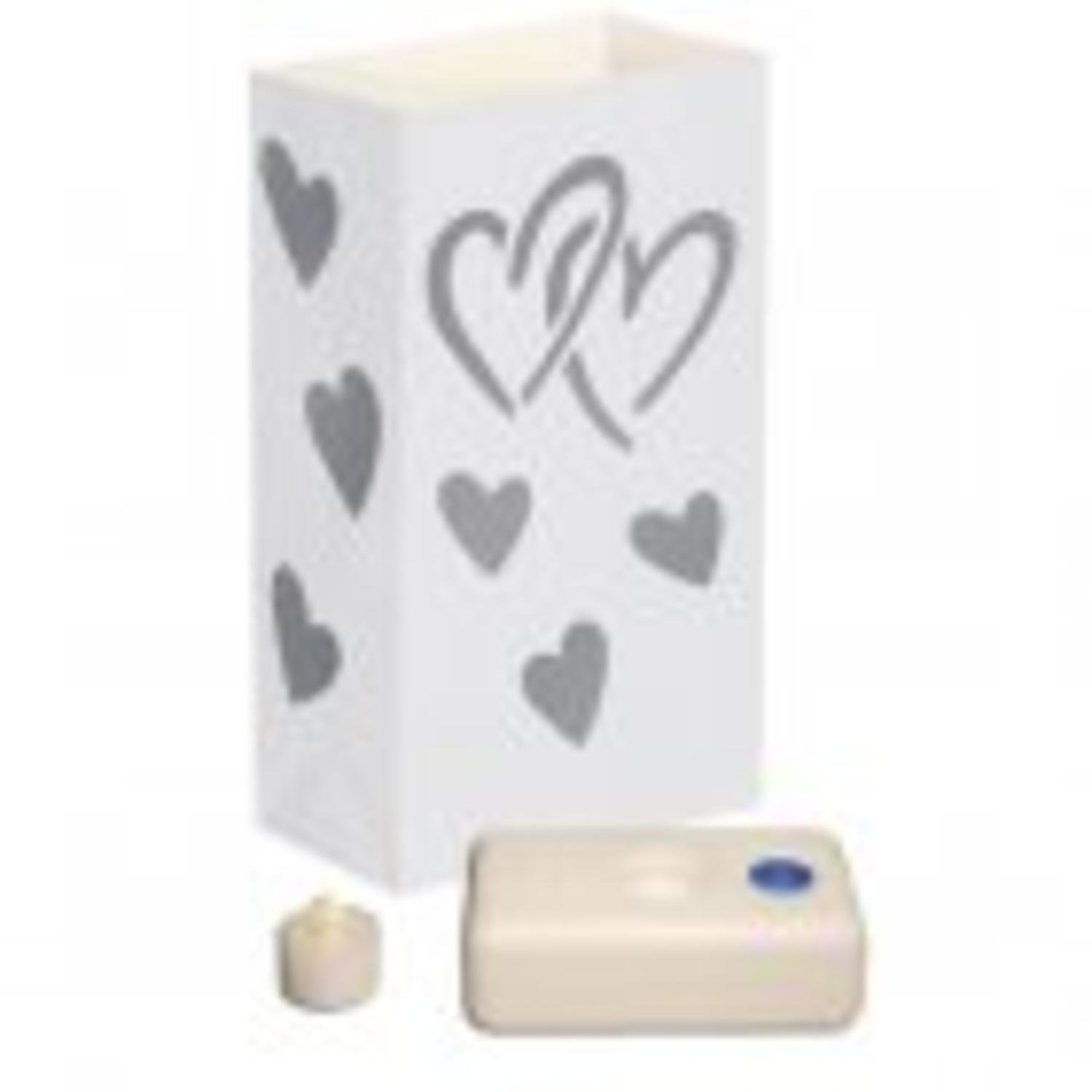 CC Home Furnishings Pack of 12 Battery Operated LED Flameless Tea Candles Hearts Luminaria Kit
