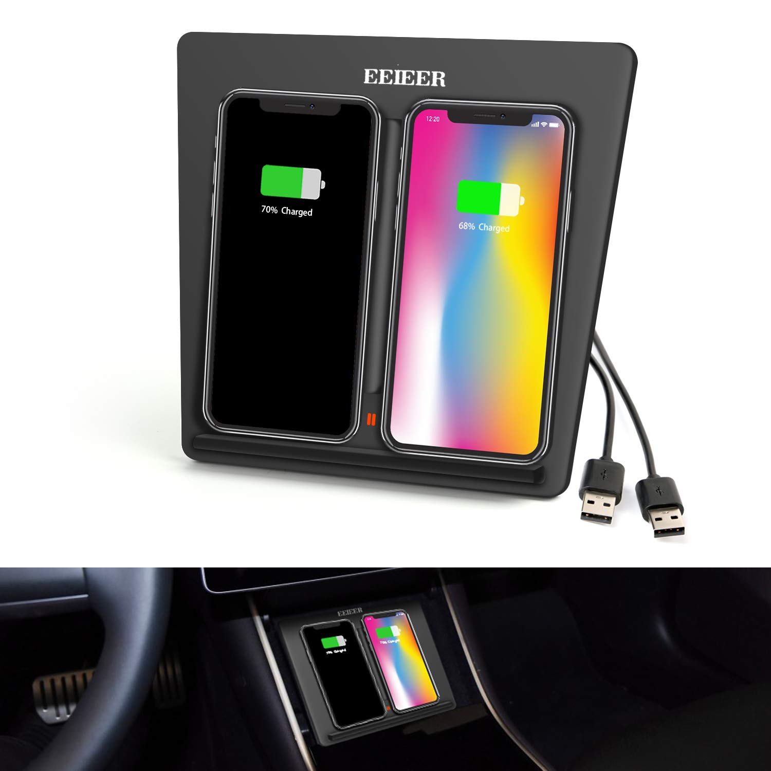 Wireless Charger for Tesla Model 3, EEIEER Tesla M3 Center Console Charging Pad with Dual USB Ports, Dual Phones Charging