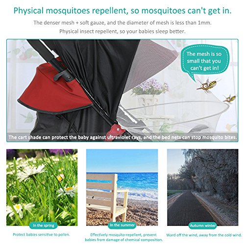 LianLe Universal Baby Mosquito Net For Stroller, Baby Stroller Universal Mosquito Net Sun Shade Anti-UV Foldable Mosquito Net, Pram Bed Cot Car Seat & Pushchair Baby Stroller Insect Net by LianLe (Image #4)