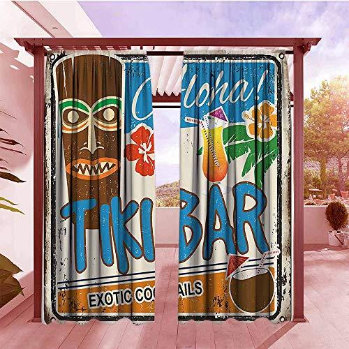 (Rod Pocket Window Curtain Tiki Bar Decor Rusty Vintage Sign Aloha Exotic Cocktails Coconut Drink Antique Nostalgic Hang with Rod Pocket/Clips W84x108L Multicolor)