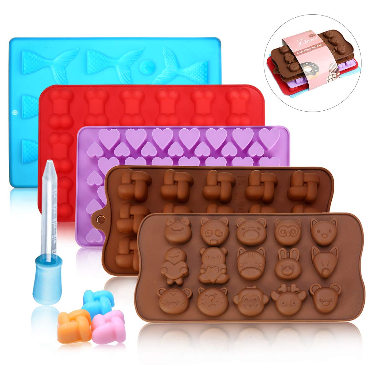 Set of 6 Bone Shape and Mermaid Heart Shape Jeteven Silicone Moulds Candy Chocolate Mould /& Ice Cube Trays,5 Packs with 1 Dropper for Gumdrop,Sweet Moulds Reusable Including Windmill Animal