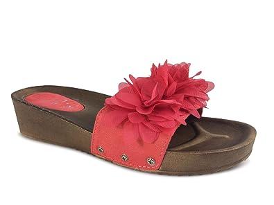 Plateau Sandalen Keilabsatz Blumen Sandaletten Damen Pantoletten ID9EH2