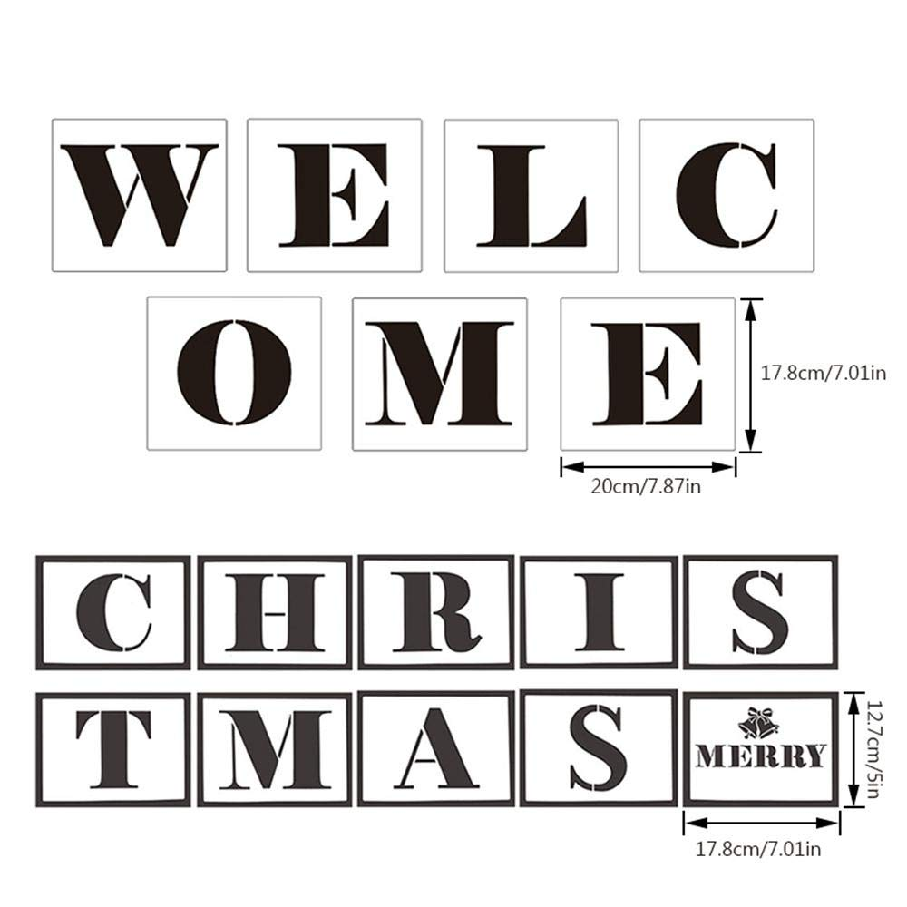 for Painting On Wood,Reusable Individual Templates,17 PCS Letter Stencils for Hotel Home Porch Sign Decorations 7.9 * 7 Inch 7 * 5 Inch Merry Christmas Stencil Large Welcome Sign Stencils
