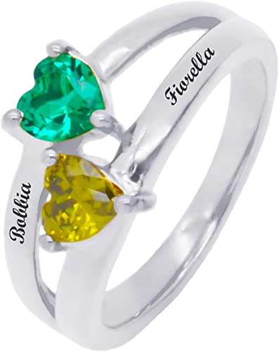 Emerald Heart Ring White Gold on 925 Silver Hallmark Love Wife Mum Gift For Her