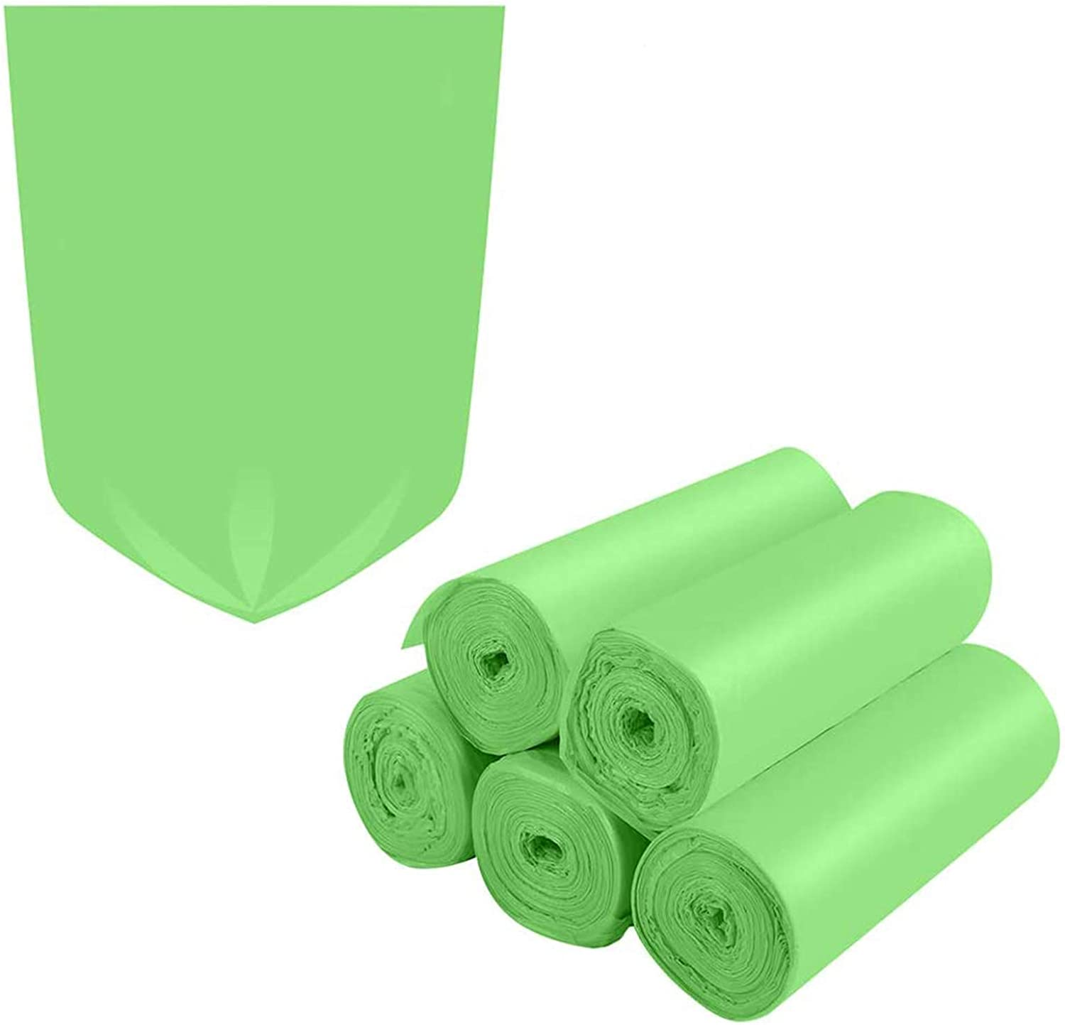 Biodegradable Trash Bags,1.2 Gallon Trash Bags Small Garbage Bags Compostable Recycling Rubbish Bags Unscented Wastebasket Can Liners for Bathroom,Home, Office , Baby diaper(Green, 125 Counts)