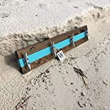 Nautical Boat Cleat Coat Rack, Towel Rack, or Hat Rack, Teal and Walnut