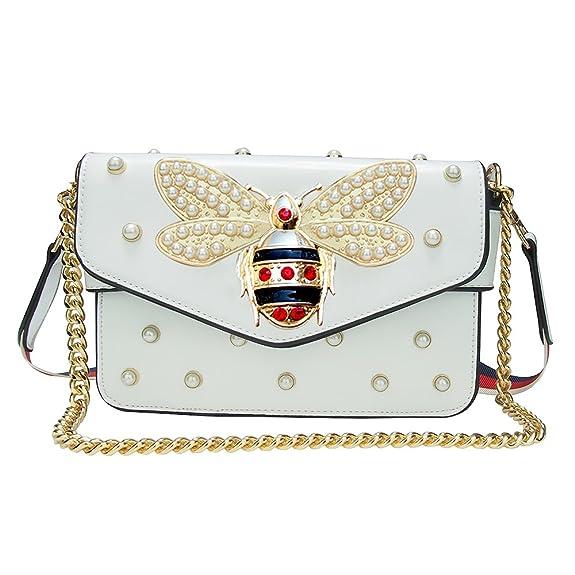 e840484c8 Beatfull Fashion Handbags for Women, Pu Leather Shoulder Bags Cross body bag  with Bee (beige): Handbags: Amazon.com