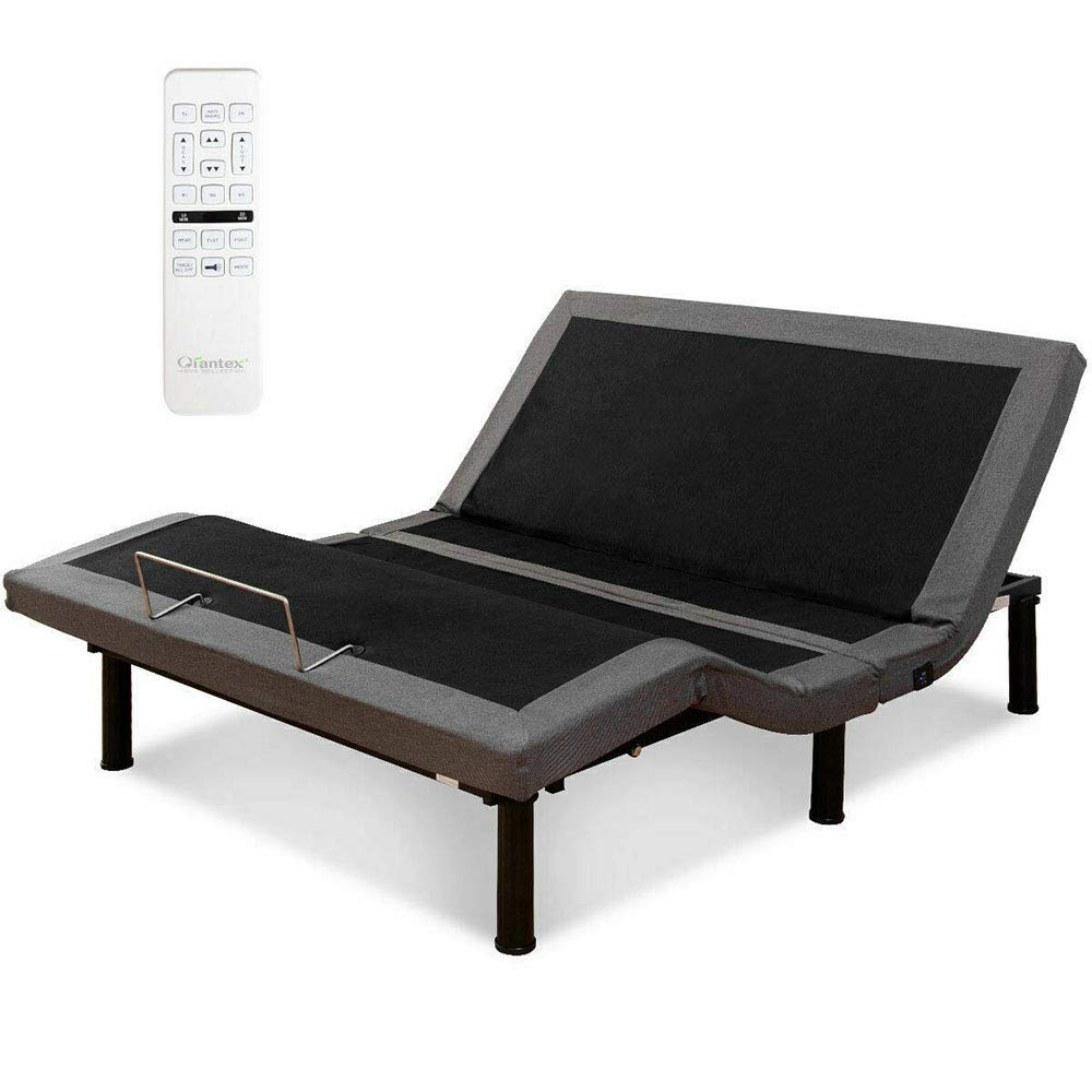 Thaweesuk Shop Black Adjustable Massage Bed Base Upholstered Wireless Remote USB Ports Twin XL 15% Spande 85% Polyester 80.0'' x 38.0'' x 13.0'' (LxWxH) of Set