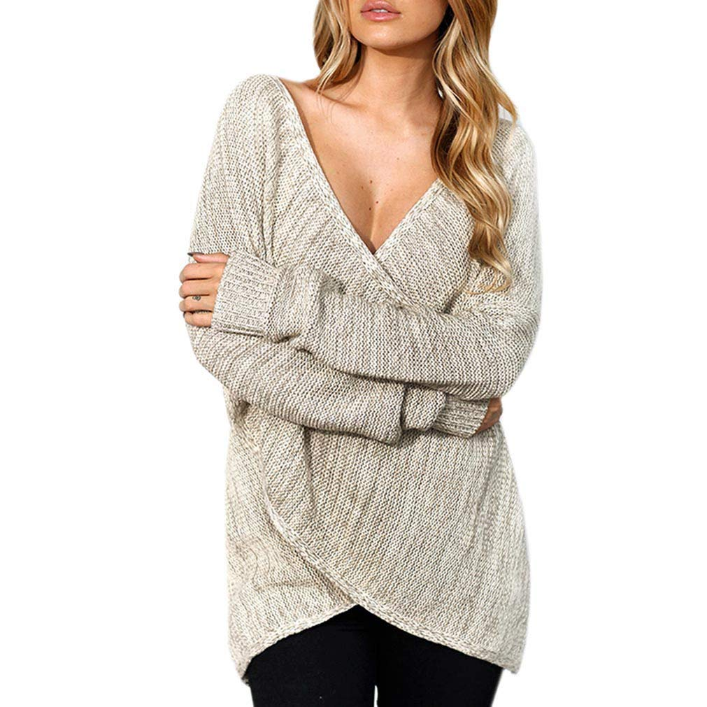 Qixuan Womens Casual Front Cross Wrap Long Sleeve Loose Knit Pullover Blouse ZH2809S0010
