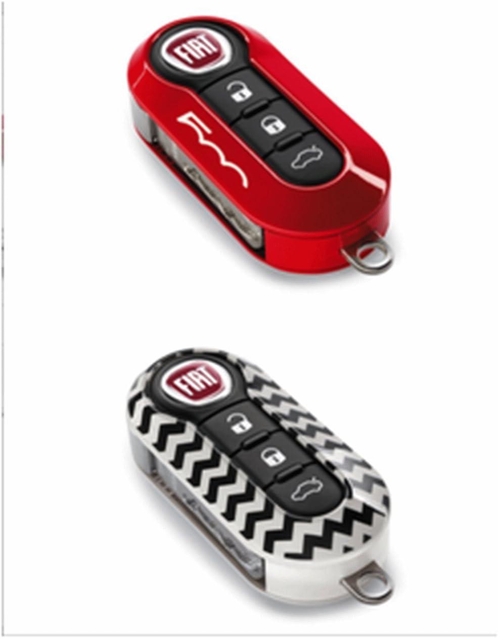 Original Fiat 500 Schlüsselcover Set Rosso E Bianco Chevron Auto