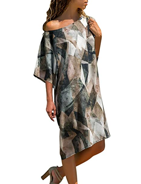 8eb59e405566 Vetinee Women s Abstract Printed Sleeve One Shoulder Loose Casual T Shirt  Dress Small (US 4