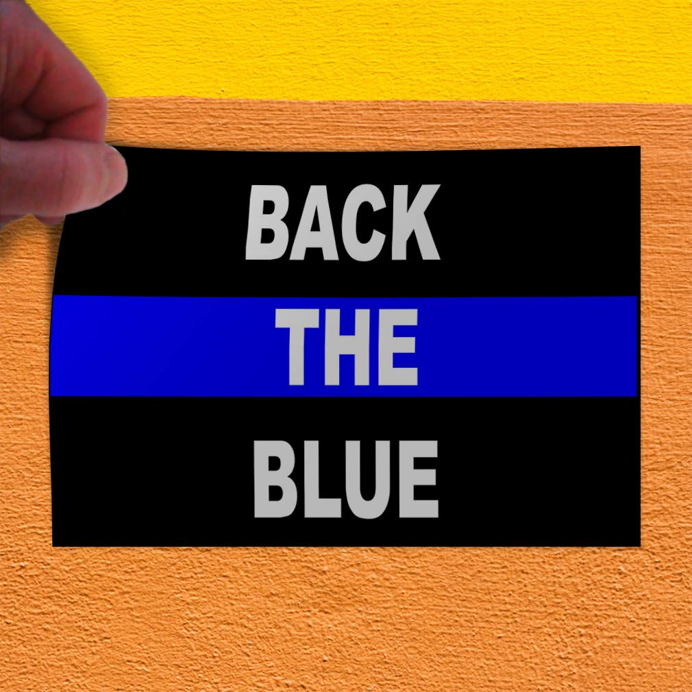 Decal Sticker Multiple Sizes Back The Blue Black Blue White Stlye1 Lifestyle Police Officers Outdoor Store Sign Black Set of 2 54inx36in